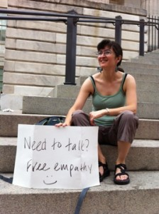 On the steps of the Portrait Gallery
