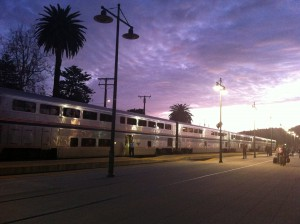 Santa Barbara train station at dusk