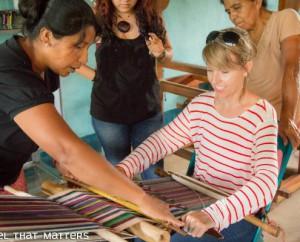 Angela weaving in Nicaragua